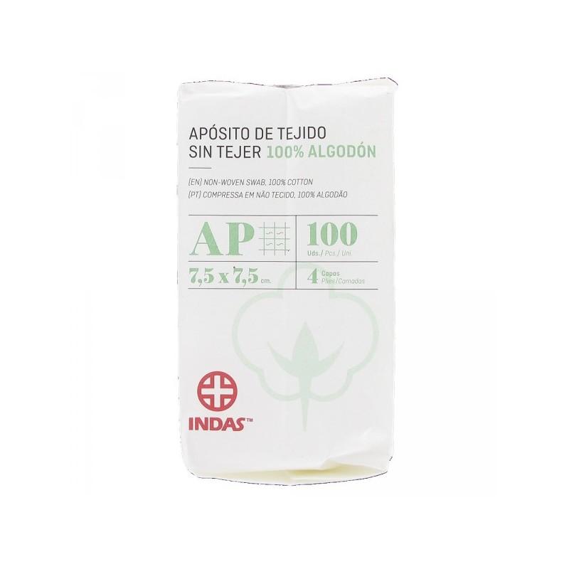 INDAS APOSITO TEJIDO SIN TEJER  7,5X7,5 100UD