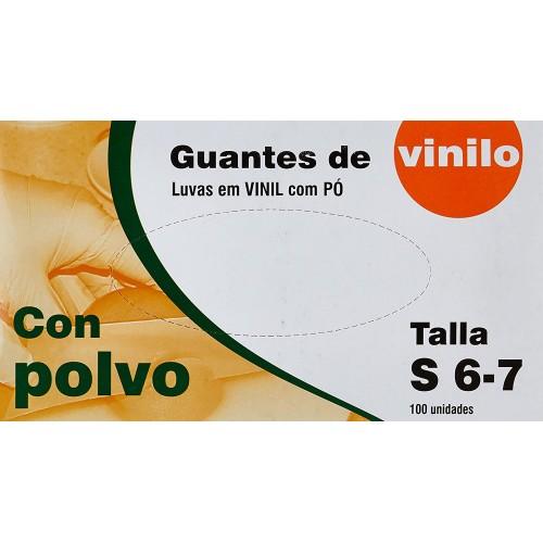 GUANTES VINILO TALLA-S CON POLVO  100 UNIDADES