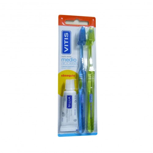 CEPILLO DENTAL DUPLO ADULTO VITIS ACCESS MEDIO